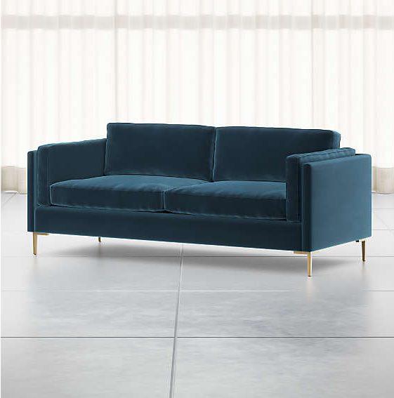 Déco canapé tissu velours naturel bleu