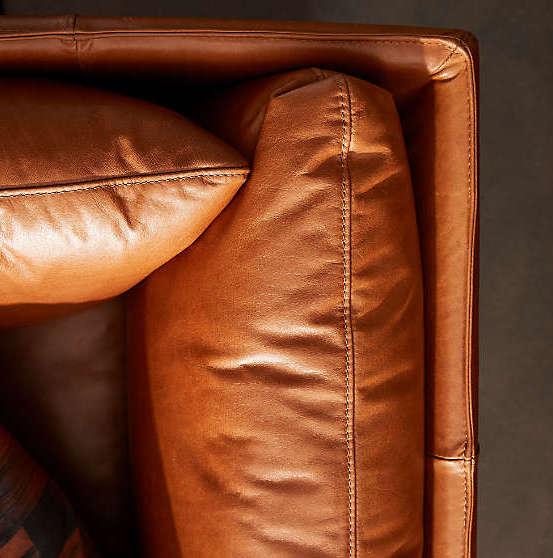 Canapé cuir naturel orange