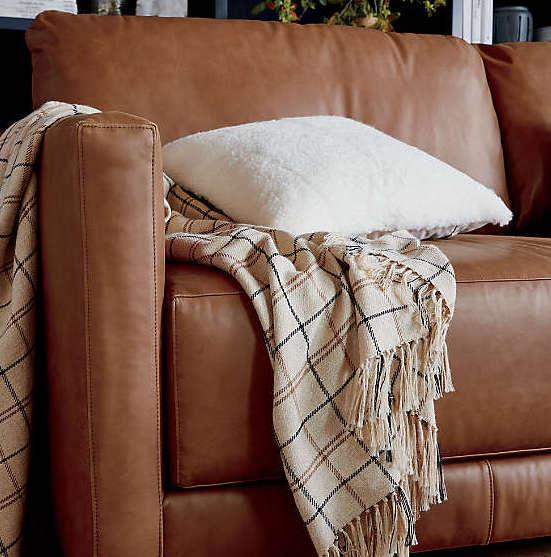 Canapé en cuir naturel marron foncé