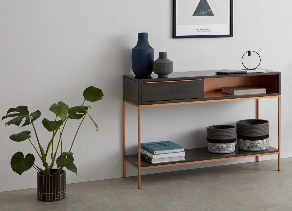 Console bois naturel - marron clair et noir