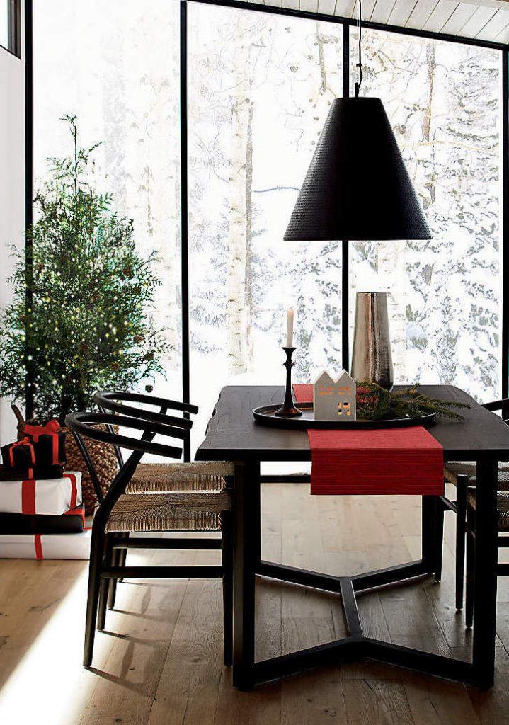 Table bois naturel - noël rouge