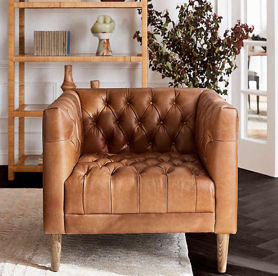 Fauteuil naturel - associé au canapé cuir marron