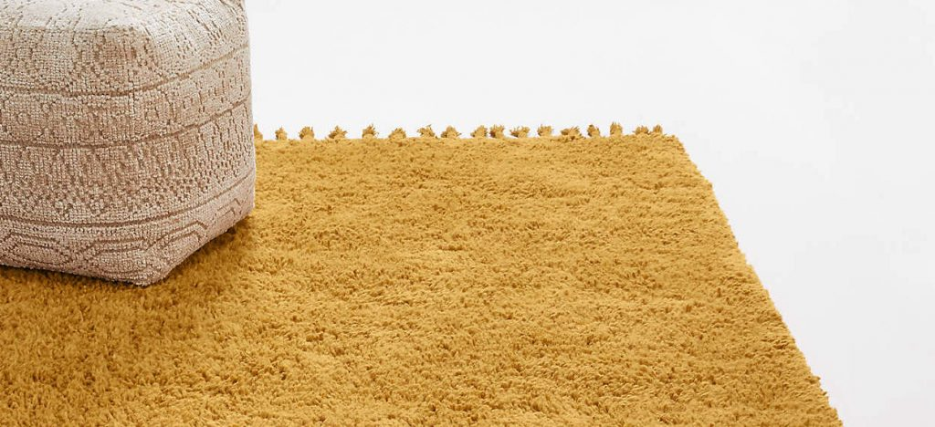Tapis en fibres naturels - jaune en coton